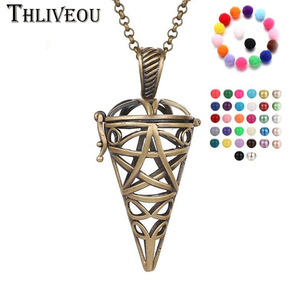 THLIVEOU Ancient Bronze Conic Pendant Necklaces Women Fashion Jewelry Making Aromatherapy Angel Ball Bola Cage Box