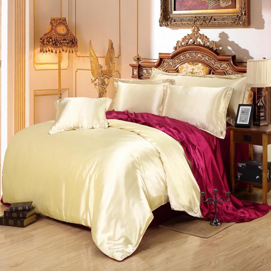 Wedding bed sheet set - Hot Sale Wine Coffee Betel Set Luxury Pink Smooth Silk Blended Silk Wedding Bedding