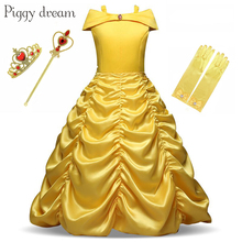 Beauty and the beast Belle Princess Dress Cosplay Belle Costume Kids Dress For Girls Party  Birthday Magic Stick Girls Clothings