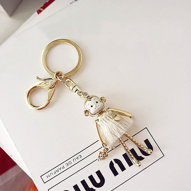 High Quality Cute Gold Monkey Princess Keychain Charm Key Ring Women Handbag Zipper Pendant For Girl Gift Jewelry