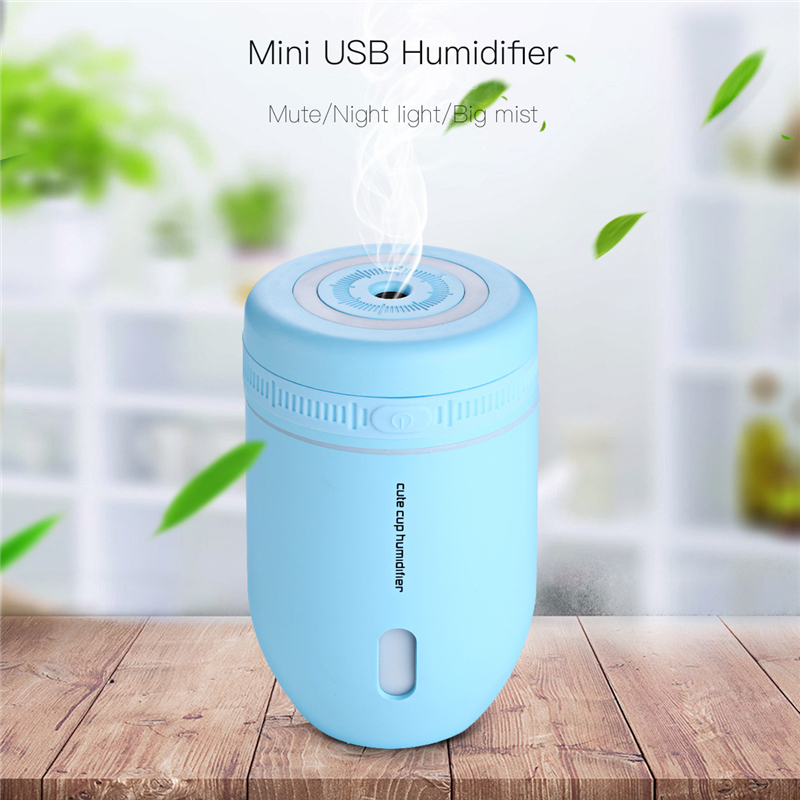 220ml Cup USB Air Humidifier For Home Car Office Mini Mist Diffuser Air Purifier Atomizer With LED Night Light Humidificador 401 5v led lighting usb mini air humidifier 250ml bottle included air diffuser purifier atomizer for desktop car