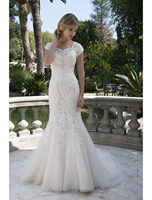 Vintage Champagne Lace Tulle Mermaid Modest Wedding Dresses With Cap Sleeves Beaded 2019 Temple Bridal Gowns Mature Brides