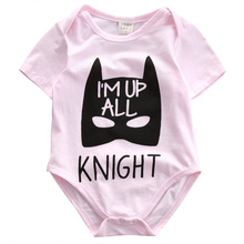 2016 NEW Cotton Newborn Baby Girls Clothes Batman Short Sleeve Pink Bodysuit Jumpsuit Outfits 0-18M