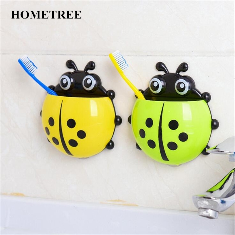 Home Improvement Bathroom Fixtures 1pc Cute Novelty Ladybug Toothbrush Holder Toiletries Toothpaste Holder Bathroom Sets Suction Tooth Brush Container