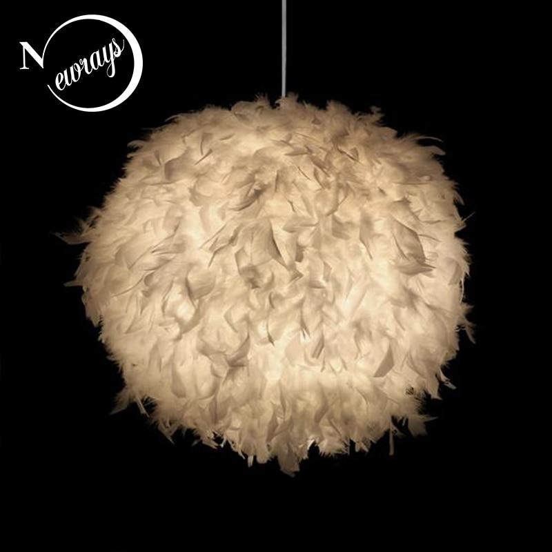 Modern minimalist creative feather ball chandelier E27 220V LED pendant lamp fixture bedroom living room restaurant kitchen cafe