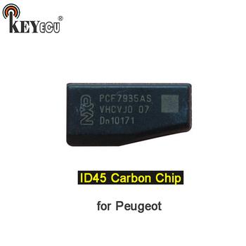 KEYECU nowy dziewiczy ID45 Chip węglowy Transponder klucz zdalny Chip klucz samochodowy pusty Chip dla Peugeot tanie i dobre opinie without CN (pochodzenie) for Peugeot Transponder Chip China ID45 Carbon Chip