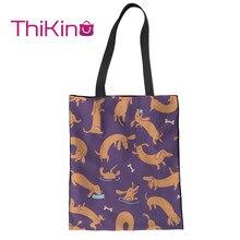 Thikin Dachshund Pattern Canvas Bag for Kawaii Girls Shopping Handbags Cool Summer Fruits Portable Women Bags Designer