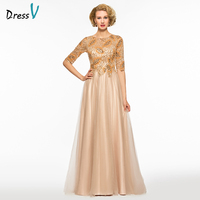 Dressv A Line Long Mother Of The Bride Scoop Neck Floor Length Half Sleeve Beading Button