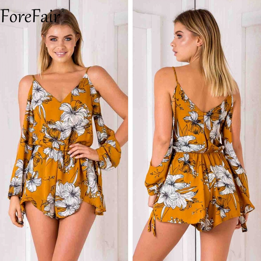 f7e7dac65d5 ForeFair Sexy Open Sleeve Boho Print Playsuit Boot Cut Backless Yellow Rompers  Womens Jumpsuit Plus Size-in Rompers from Women s Clothing on  Aliexpress.com ...