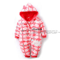 new 2016 autumn winter overall baby clothing infant thick cartoon elephant romper baby girl cotton jumpsuit newborn kids jackets