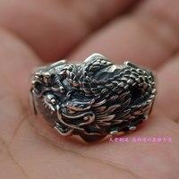 925 чистого серебра Летающий Черный Дракон Для мужчин тайский серебряное кольцо