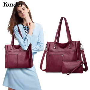 Image 1 - Yonder brand women bag genuine leather handbag ladies large tote bag high quality Sheepskin leather shoulder bag female Red Wine