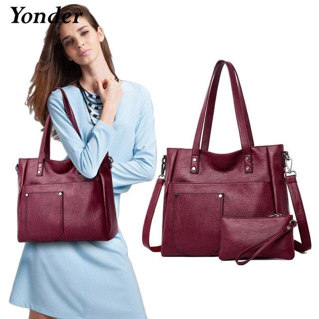 Yonder brand women bag genuine leather handbag ladies large tote bag high quality Sheepskin leather shoulder bag female Red Wine
