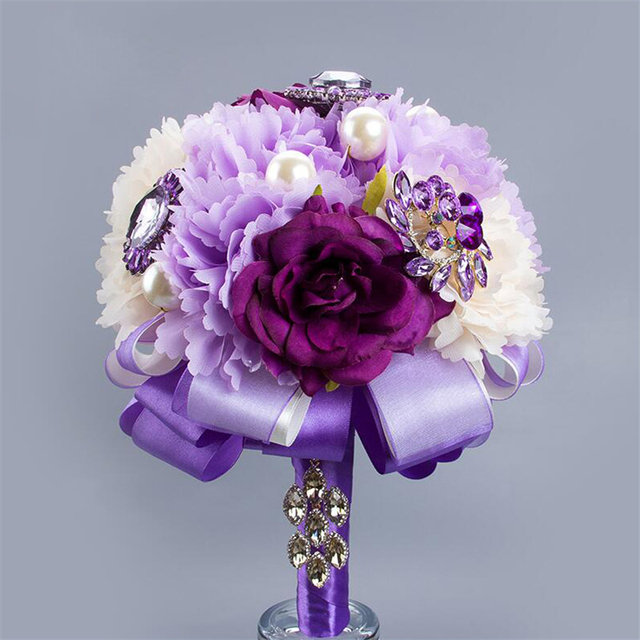 Hot Selling Colorful Silk Flower Wedding Romantic Bridal Bouquets ...