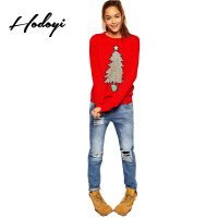 Hodoyi Women Fashion New Autum Preppy Style Full Sleeve Tops Women Christmas Tree Print O Neck