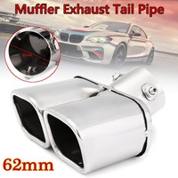 Car Auto Silver Stainless Steel Chrome Double Outlet Muffler Exhaust Tail Pipe Throat Liner Universal 62mm Inlet 1 to 2 Dual
