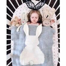 Baby Blanket Cartoon Bunny Knitted Blanket For Bed Sofa Newborn Muslin Swaddle Blanket Rabbit Handmade Woolen Bath Towels