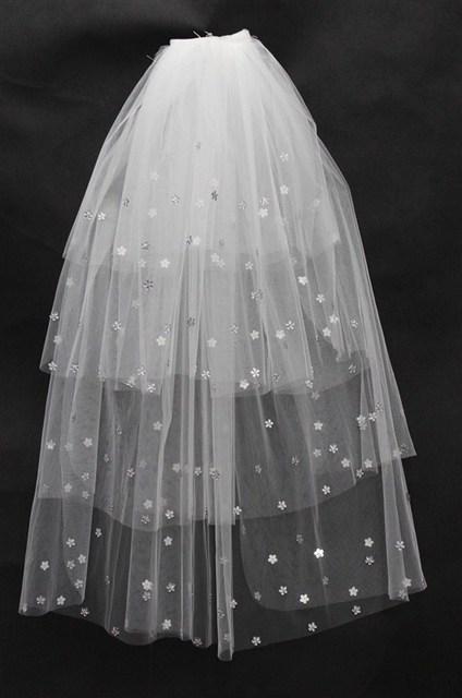 Shiny Star Beading Wedding Dress Veils 3 Layered bride wedding accessories wedding veil for hair