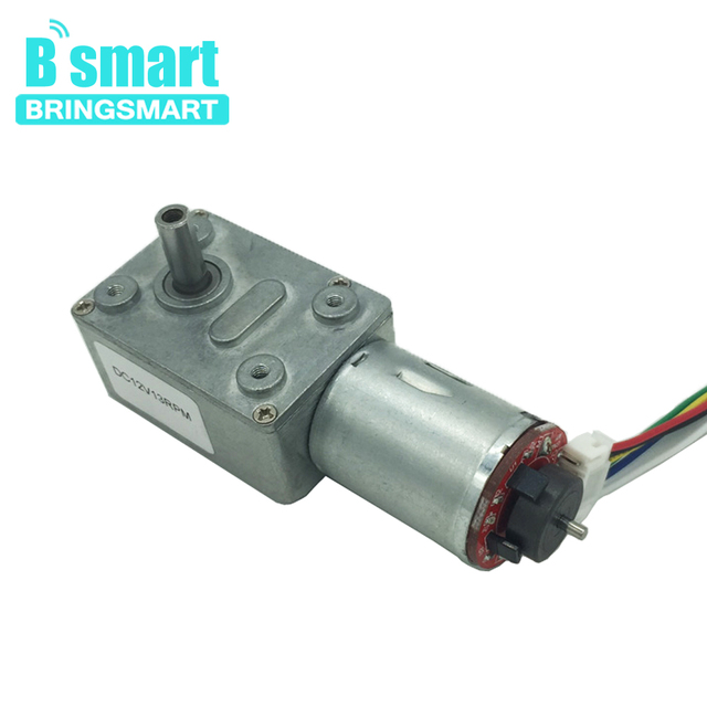 Bringsmart DC Worm Gear Motor with Encoder Disk 12V Low Speed Mini Gearbox Reducer Motor Hall Encoding Board Self-lock CW / CCW