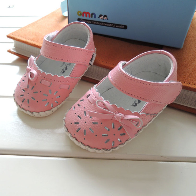 2017 Spring Summer Style OMN Brand Genuine Leather Baby Shoes Cute Flower Girls First Walkers Toddler Shoes