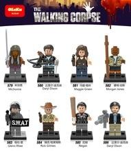The Walking Dead Figures zombie Michonne Daryl Dixon Maggie Green Morgan Rick Grimes Negan Bricks Action