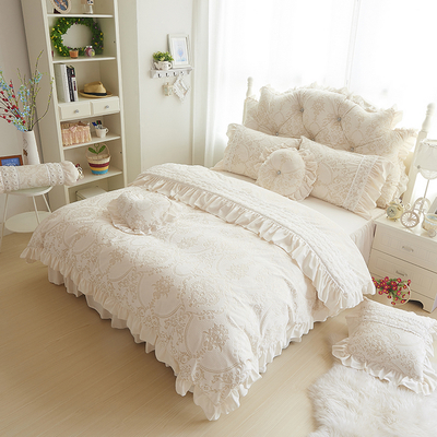 black suede bedding Princess Lace Wedding coral fleece velvet warm winter bed skirt four pieces A sets
