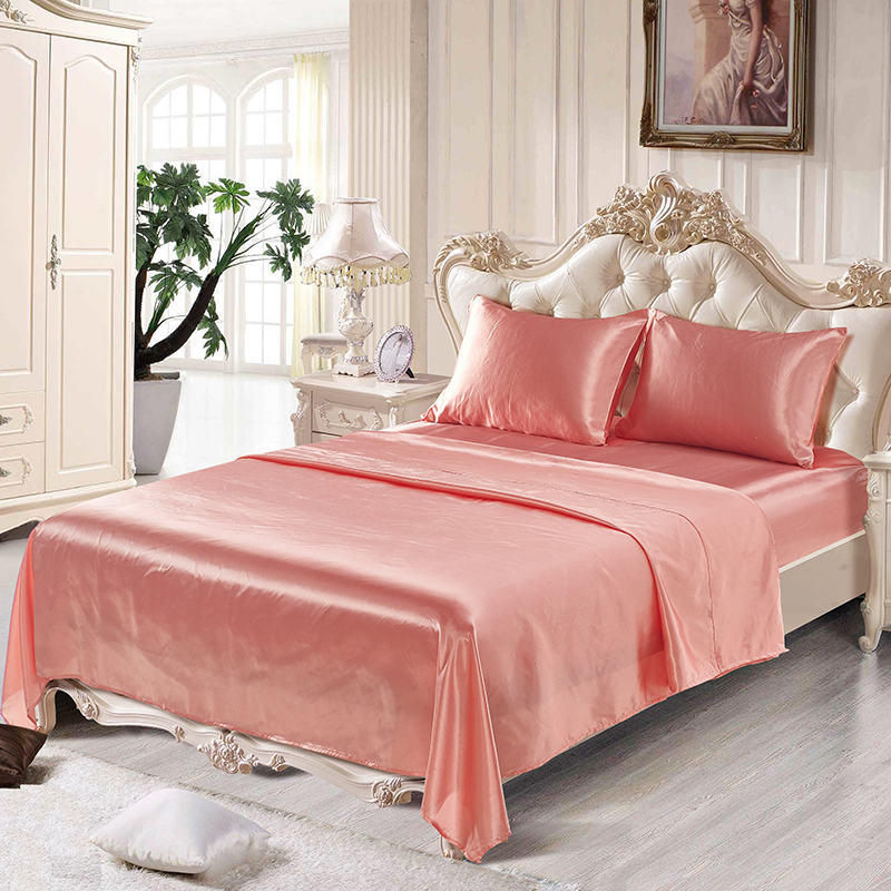 Pure Satin Silk Bedding Set Queen Twin Size 4pcs Home
