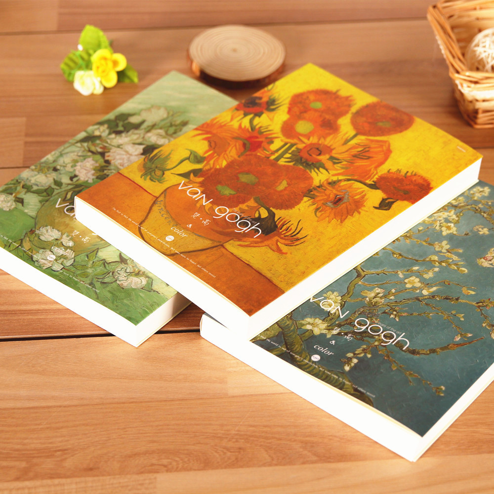 1 piece the idea of Van Gogh painting sketch book sketch blank diary notebook B5 classical trend 26*19cm 3 colors to choose hand painted famous oil painting the bedroom at arles c 1887 of vincent van gogh multicolored