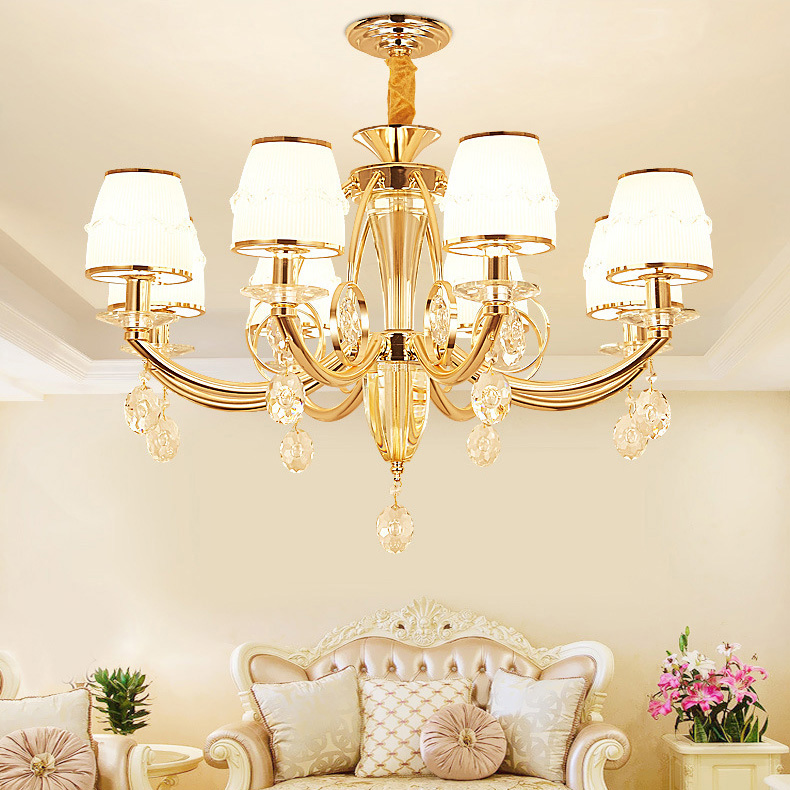 Vintage Golden Crystal Chandelier Lighting fixture French Gold Finish and Golden Crystal Chandelier lamp AC110 240V
