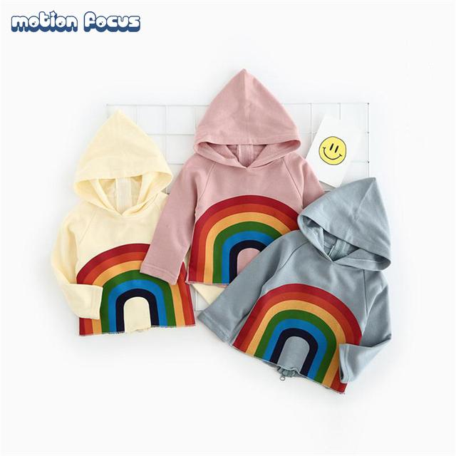 De alta calidad de los cabritos hoodies nuevo 2017 primavera arco iris de impresión recién nacido bebé niños niñas prendas de abrigo sudaderas niños clothing