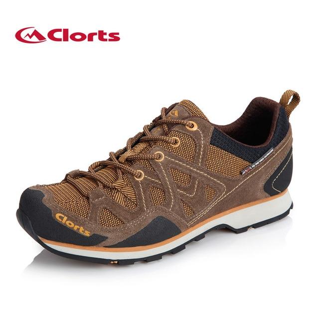 Clorts Men Hiking Shoes Cow Suede Trekking Shoes Waterproof Outdoor Mesh Sports Shoes Non-slip Climbing Shoes for Men 3E004