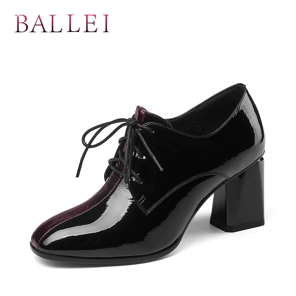 Cuadrados Mujer Hecho De Tacones Punta D65 Black Patente Clásico A Suave Cuero Estrecha Moda Ballei Bombas Zapatos Casual Encaje Mano SPxwnSq