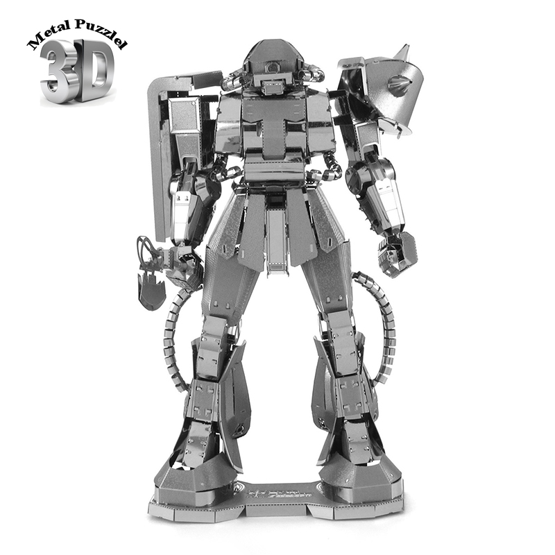 3D Metal Puzzles Miniature Model DIY Jigsaws Building Silver Robot Gift Kids GUNDAM MS - 06 ZAKUII  -  THilo Toy Store store