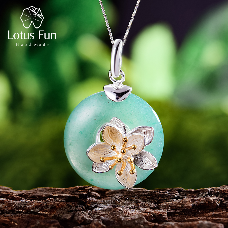 Lotus Fun Real 925 Sterling Silver Natural Aventurine Green Gemstone Fine Jewelry Lotus Whispers Pendant For Women Without Chain