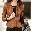 Primavera e no outono jaqueta de couro curta 2016 coréia do sexo feminino de pele de carneiro genuína roupas de couro da motocicleta design slim Jaqueta