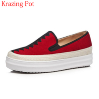 2018 Superstar Med Heel Slip on Kid Suede Casual Shoes Round Toe Mixed Color Sneaker Loafer Increased Women Vulcanized Shoes L69