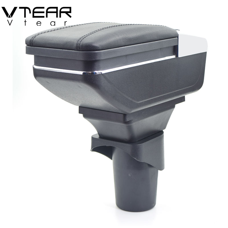 Vtear For Nissan micra March armrest box PU Leather central Store content box cup holder interior