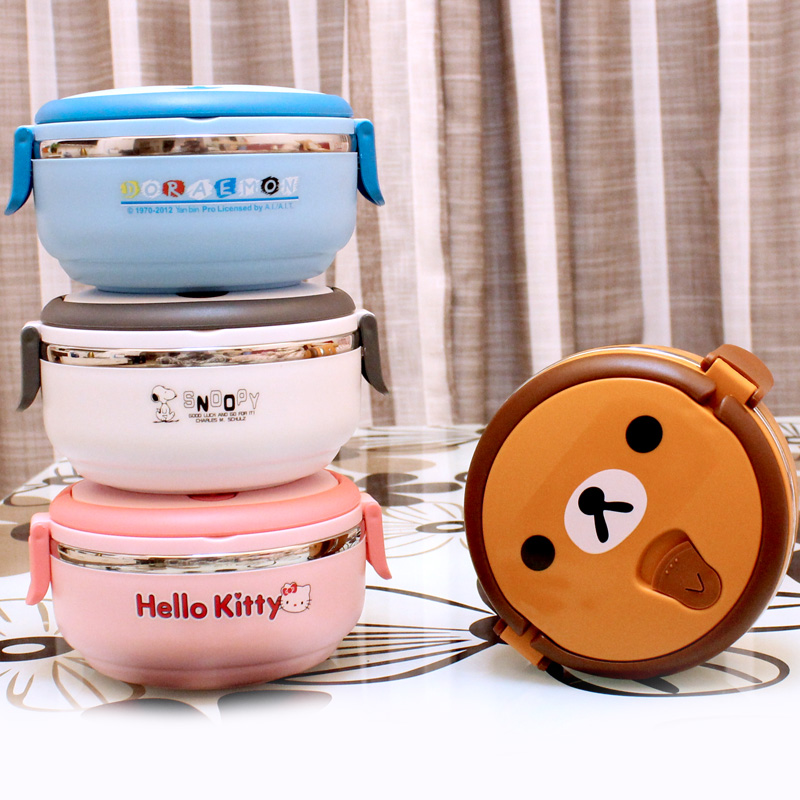 hello kitty cartoon thermal lunch box stainless steel boxes kids tableware food container thermos - Economic and Practical Club store