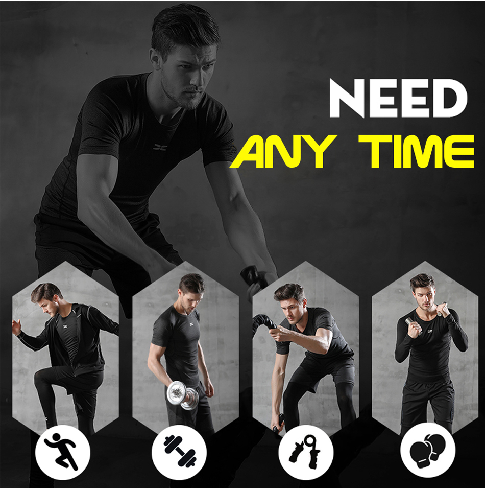 REXCHI 5 Pcs/Set Men's Tracksuit Gym Fitness Compression Sports Suit