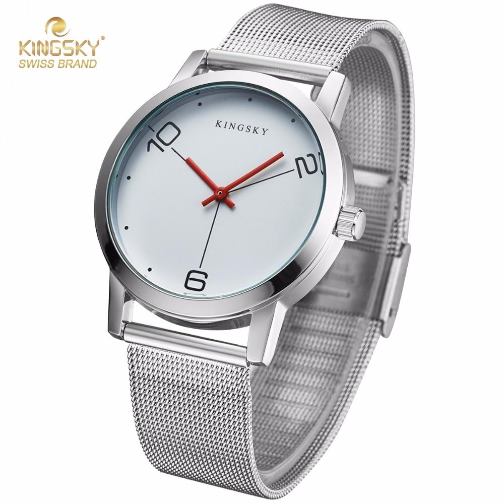 KingSky Luxury Women Watches Ladies Simple Quartz Watch Men Clock Silver Stainless Steel Bracelet Dress Watch