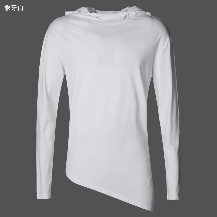HTB12ajiKeySBuNjy1zdq6xPxFXal - Men Autumn New European Style High Collar Long Sleeve Hooded T-shirt with Cap Men Slim Casual Cotton Irregular T-shirt T908