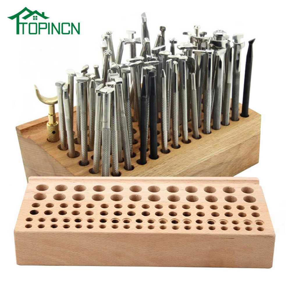 46 98 Holes Leather Craft Tool Holder Box Wood Rack Wooden Punch Handwork Tool Stand Holder Organizer for Drill Bits Storage