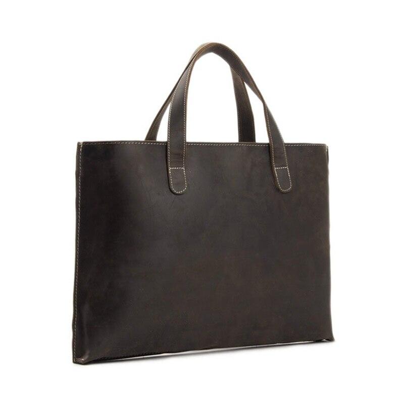 ROCKCOW Vintage Unisex Leather Briefcase Casual Bag Fashion Single Shoulder Bag Leather Laptop Bag Designer Handbag ZB02 rockcow vintage vegetable tanned leather briefcase men messenger bag laptop bag 9043