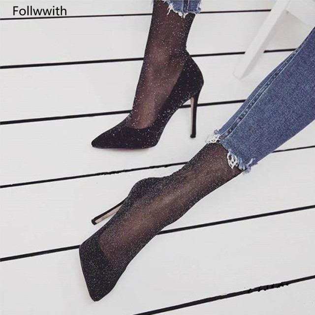 Sexy Ladies Black Sock Pumps Hot Sales High Heels Pointed Toe Shoes Woman  2018 Spring Summer Fashion Stiletto Heels 921c0449b02c