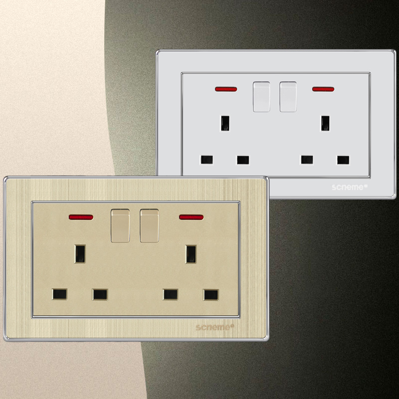 UK Standard 13A 6 Pin Wall Socket, Double Plug electrical Outlet ...