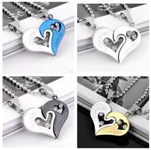 c33b0b7a2ec3 Collares de amor de corazón negro de cadena de acero inoxidable para hombre  para parejas coreanas señoras de moda emparejada col.