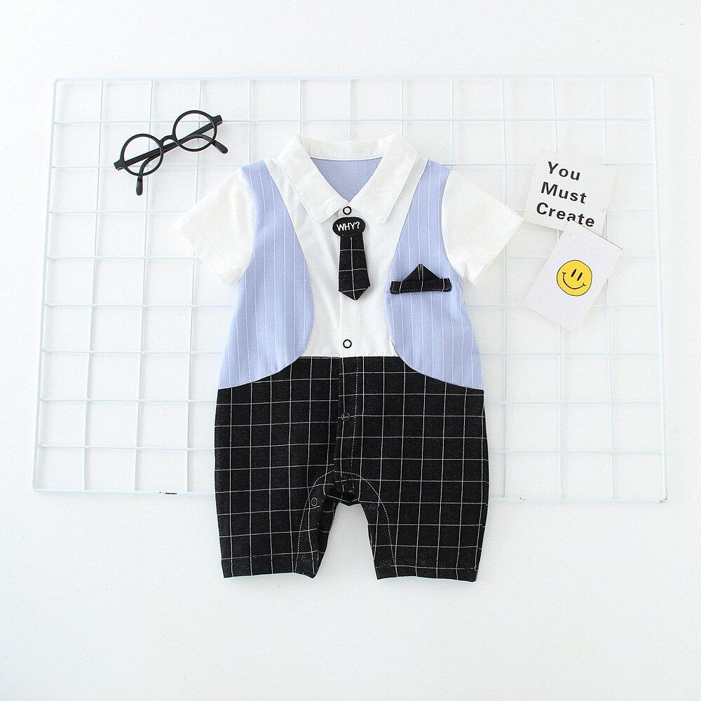 2018 Fashion Plaid Romper Turn-down Collar Gentleman Boy Onesie With Bow Tie Short Sleeve Romper Summer Baby Boy Jumpsuits Baby