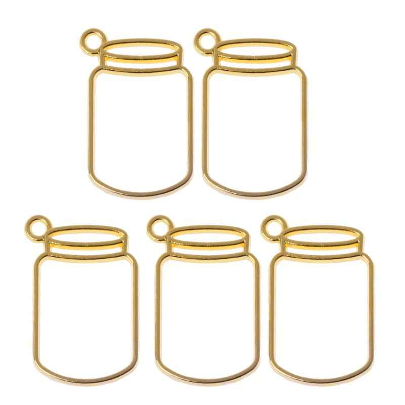 5Pcs Floating Bottles Metal Frame Hollow Pendant Bezels UV Resin Jewelry Making