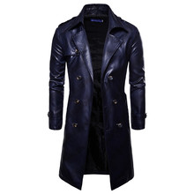 Men Long Trench Coat 2019 New Fashion Slim Fit PU Leather Overcoat Double Breasted Autumn Winter British Male
