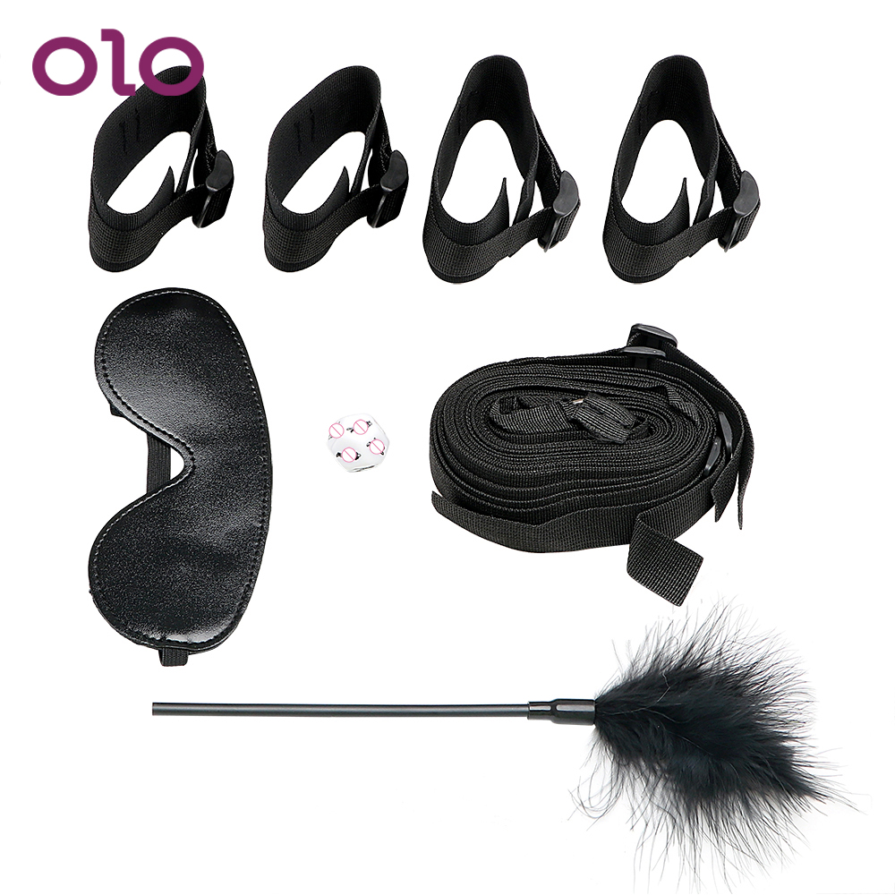 OLO Handcuff and Ankle Cuffs Under Bed Restraint Adult Game <font><b>4Pcs</b></font>/<font><b>Set</b></font> <font><b>Sex</b></font> <font><b>Toys</b></font> for Couples with Eye Mask Feather Whip <font><b>Sex</b></font> Dice image